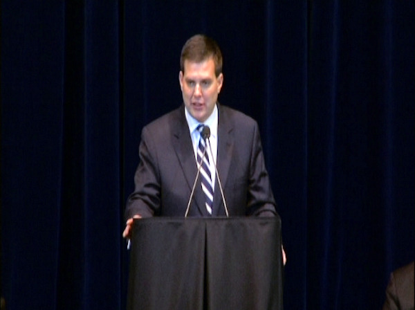 Jay Paterno speaks at the public memorial for his father, Joe Paterno, at Penn State's Bryce Jordan Center, January 26, 2012.