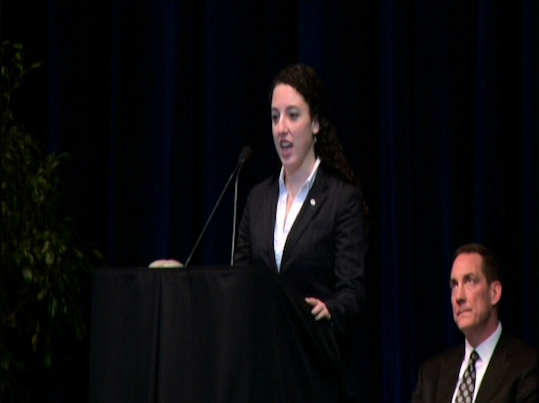 "<div class=""meta ""><span class=""caption-text "">Penn State senior and Paterno Fellowship recipient Lauren Perrotti speaks at the public memorial for Joe Paterno at Penn State's Bryce Jordan Center, January 26, 2012.</span></div>"