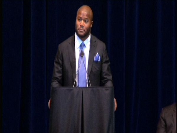 Former Penn State football player Michael Robinson speaks at the public memorial for Joe Paterno at Penn State's Bryce Jordan Center, January 26, 2012.