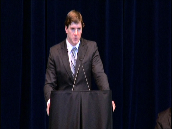 Current Penn State football player Mike Mauti speaks at the public memorial for Joe Paterno at Penn State's Bryce Jordan Center, January 26, 2012.