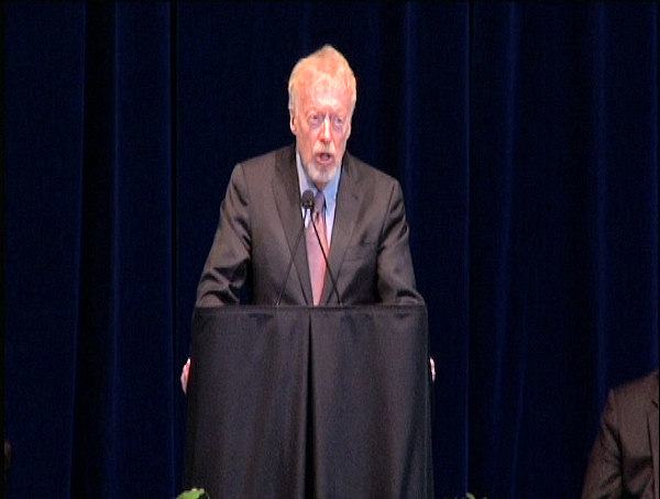 Phil Knight, chairman of Nike, Inc., speaks at the public memorial for Joe Paterno at Penn State's Bryce Jordan Center, January 26, 2012.