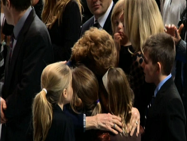 "<div class=""meta ""><span class=""caption-text "">Sue Paterno greets family members and mourners at the public memorial for her husband, Joe Paterno, at Penn State's Bryce Jordan Center, January 26, 2012</span></div>"