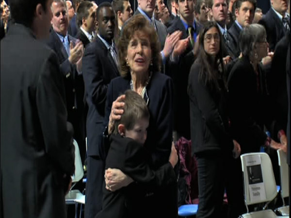 Sue Paterno greets family members and mourners at the public memorial for her husband, Joe Paterno, at Penn State's Bryce Jordan Center, January 26, 2012