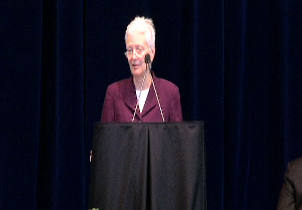 "<div class=""meta ""><span class=""caption-text "">Penn State University's Dean of the College of Liberal Arts Susan Welch speaks at the public memorial for Joe Paterno at Penn State's Bryce Jordan Center, January 26, 2012.</span></div>"