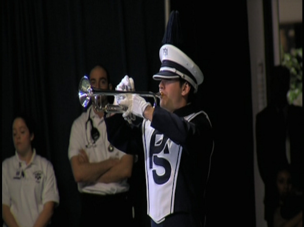"<div class=""meta ""><span class=""caption-text "">Penn State Blue Band trumpeter Kurtis Cleckner plays at the conclusion of the public memorial for Joe Paterno at Penn State's Bryce Jordan Center, January 26, 2012.</span></div>"