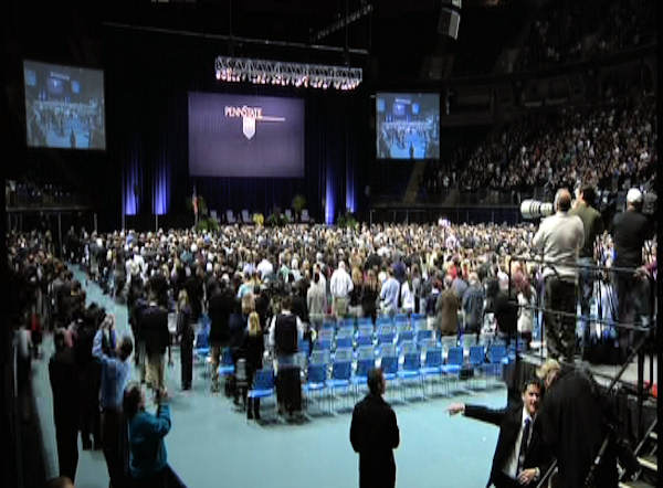 A capacity crowd of more than 12,000 packed Penn State's Bryce Jordan Center for one more tribute to Joe Paterno on January 26, 2012.
