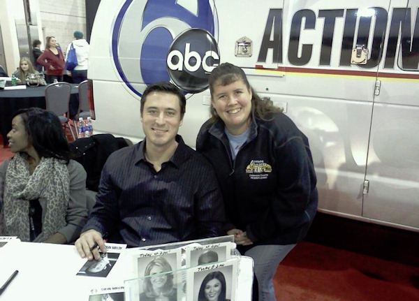 Matt O'Donnell greets an Action News viewer at the 2012 Philadelphia Auto Show.