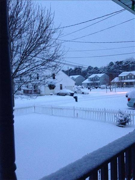 "January 29, 2014: An Action News viewer captured this scene: ""Snowfall in Galloway, N.J."""