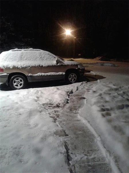 "January 29, 2014: An Action News viewer captured this scene: ""SUV covered in fresh snow and snow still falling in Pine Hill, N.J."""