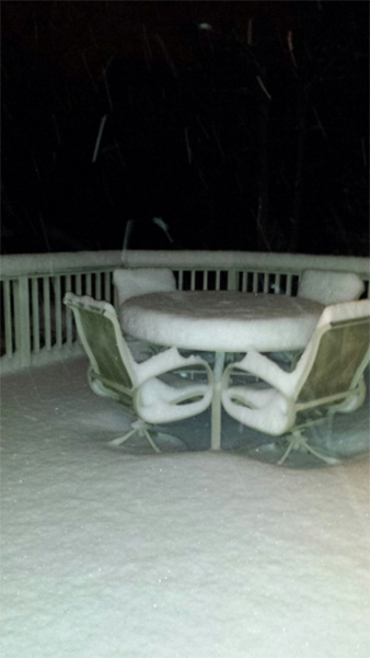 "January 29, 2014: An Action News viewer captured this scene: ""Snow in Egg Harbor Township, N.J. at 4:30 a.m."""