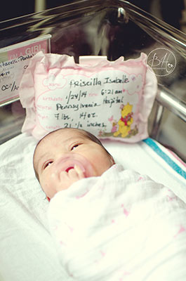 Priscilla Isabelle was born Friday morning, January 24 at 6:12 am, and she weighed in at 7 lbs, 14 oz., and was 21 1&#47;2 inches tall. <span class=meta>(Stephanie Anton-Velos of BH Photography  www.bhphotographynj.com   )</span>