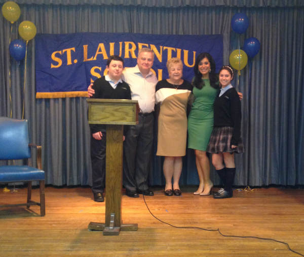Alicia Vitarelli celebrates Catholic Schools Week with the students and staff of Saint Laurentius School where she was inducted into the school's Hall of Fame.