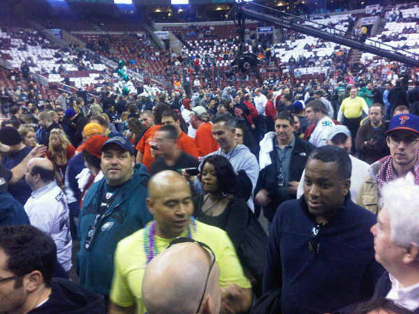 Wing Bowl spectators fill in at the Wells Fargo Center.