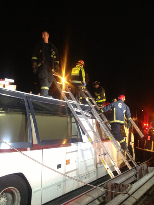 Dozens of people from the Philadelphia area were injured in a bus crash in Boston on February 2, 2013. <span class=meta>(Boston Fire Department)</span>