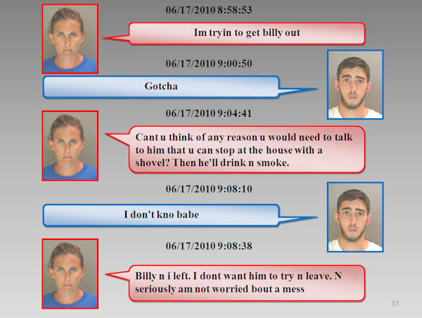 Text messages in love triangle murder