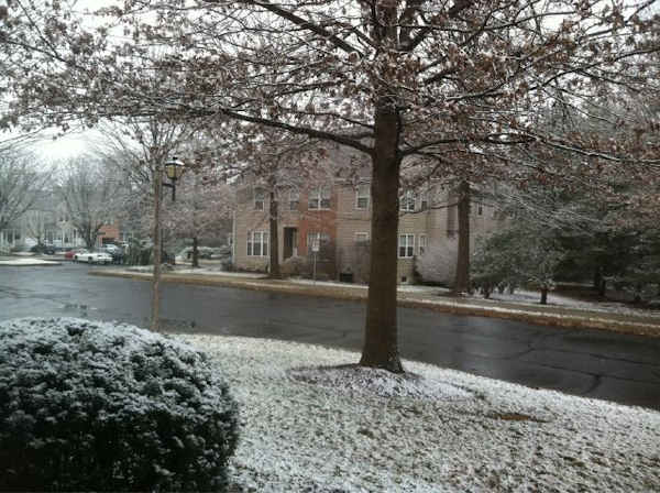 From Beth Pellechia @Bethyboo55 via Twitter -  Snow sticking pretty good in Doylestown. Just recently started to stick.