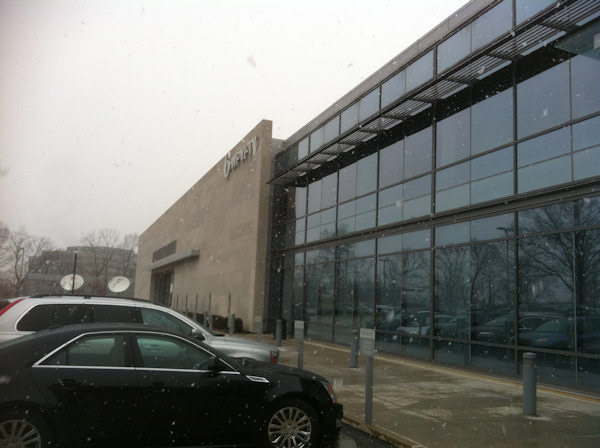 Pictured: Snowflakes falling at the 6abc studios in Philadelphia.
