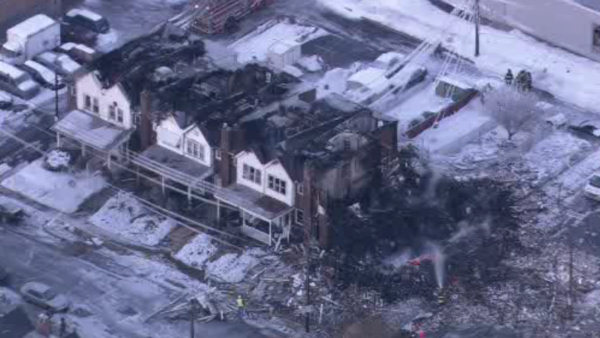 Daytime pictures taken from Chopper 6 show the full extent of the devastating blast that rocked N. 13th and West Allen Streets in Allentown late Wednesday night. <span class=meta>(WFMZ)</span>