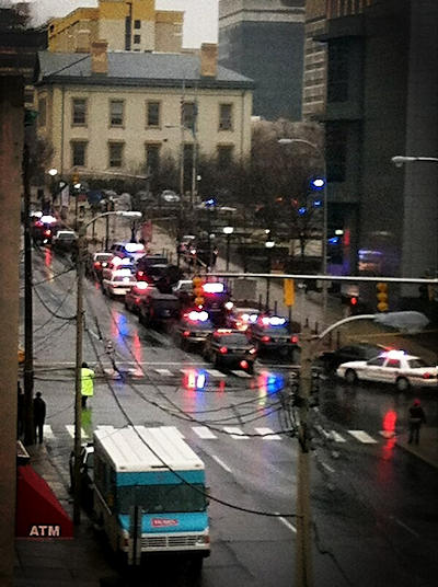 Action News viewer Tammy Benton sent in this photo of all the emergency vehicles she could see from her office in the Chase Building near the Wilmington Courthouse.