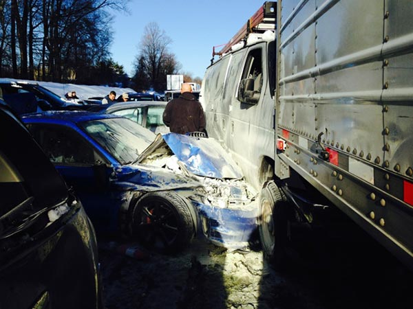 Tracey Wood, who was involved in the massive pileup on the Pennsylvania Turnpike in Bucks County on Friday morning, sent these pictures of the crash to Action News.