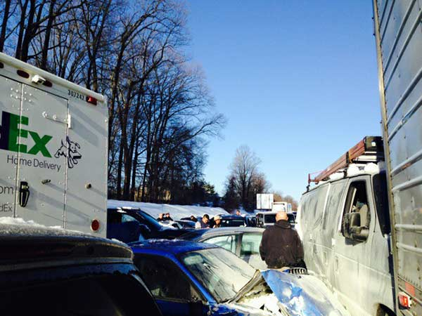 "<div class=""meta image-caption""><div class=""origin-logo origin-image ""><span></span></div><span class=""caption-text"">Tracey Wood, who was involved in the massive pileup on the Pennsylvania Turnpike in Bucks County on Friday morning, sent these pictures of the crash to Action News.</span></div>"