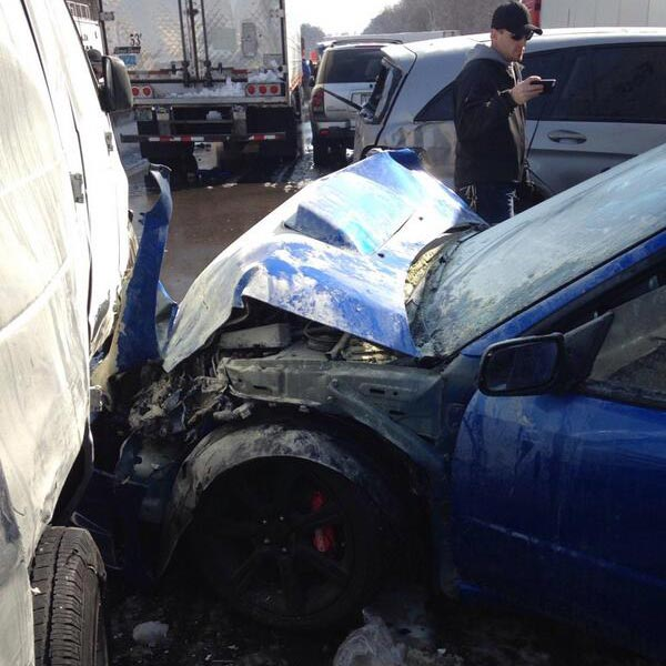 "<div class=""meta ""><span class=""caption-text "">Dana Goodman, who was involved in the massive pileup on the Pennsylvania Turnpike in Bucks County on Friday morning, sent these pictures of the crash to Action News.</span></div>"