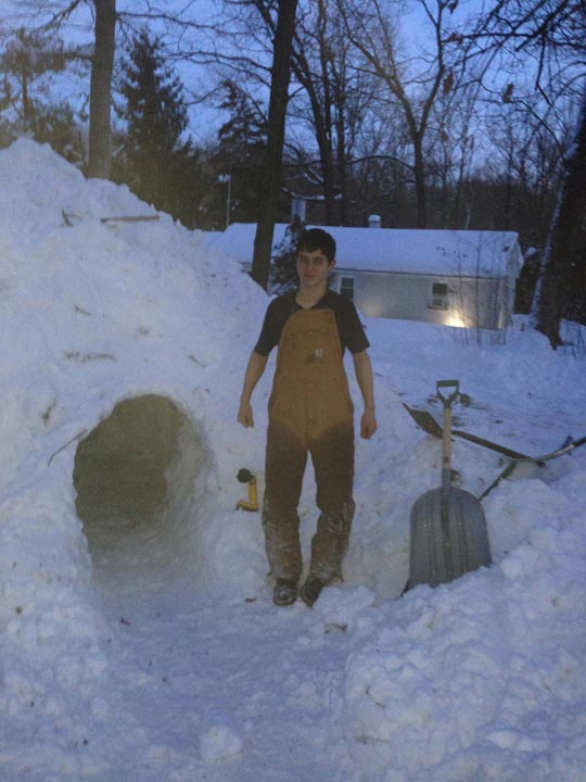 Viewer: Justin Hufford and Kolby Brown built a igloo. It's 7 foot high inside and 12 foot around inside. From Honey Brook, Pa.