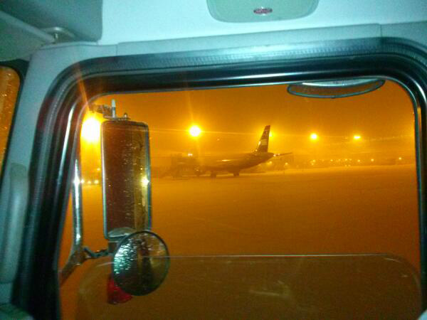 Viewer @RussWrage via Twitter: Snow at 3:15 a.m. airport
