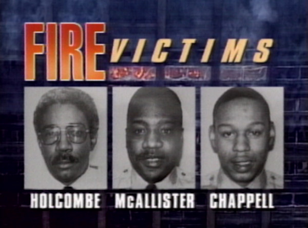 Capt. David Holcombe and firefighters Phyllis McAllister and James Chappell died fighting the One Meridian Plaza fire back on February 23, 1991.