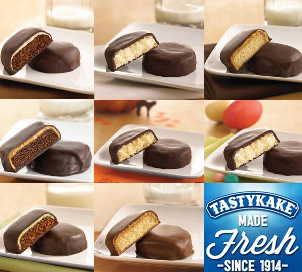"<div class=""meta image-caption""><div class=""origin-logo origin-image ""><span></span></div><span class=""caption-text"">Tastykake turns 100  Kandy Kakes:  Chocolate Kandy Kakes Coconut Frosty Kakes Dark Chocolate Peanut Butter Kandy Kakes Doublicious: Peanut Butter Kandy Kakes Ghostly Goodies Hippity Hops Mint Kandy Kakes Peanut Butter Kandy Kakes (tastykake.com)</span></div>"