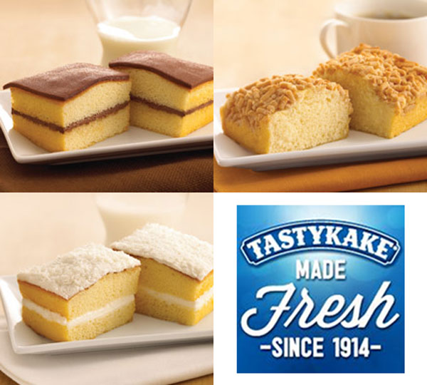 Tastykake turns 100  Juniors:  Chocolate Juniors Koffee Kake Juniors   SEASONAL  Coconut Juniors     <span class=meta>(tastykake.com)</span>