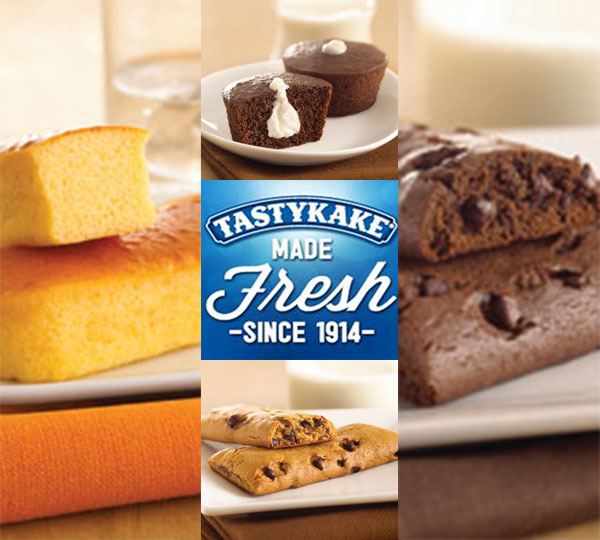 Tastykake turns 100  Sugar Free:  Chocolate Chip Cookie Bars Chocolate Chocolate Chip Cookie Bars Cream Filled Chocolate Cupcakes Orange Finger Cakes   <span class=meta>(tastykake.com)</span>