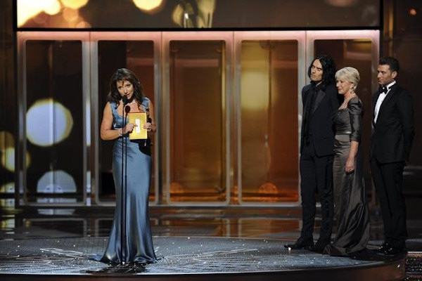"<div class=""meta image-caption""><div class=""origin-logo origin-image ""><span></span></div><span class=""caption-text"">THE 83RD ACADEMY AWARDS® - THEATRE - Academy Awards for outstanding film achievements of 2010 were presented on Sunday, February 27, 2011, at the Kodak Theatre at Hollywood & Highland Center, and televised live as ""The 83rd Annual Academy Awards"" on the ABC Television Network. (A.M.P.A.S.) SUSANNE BIER, RUSSELL BRAND, HELEN MIRREN </span></div>"