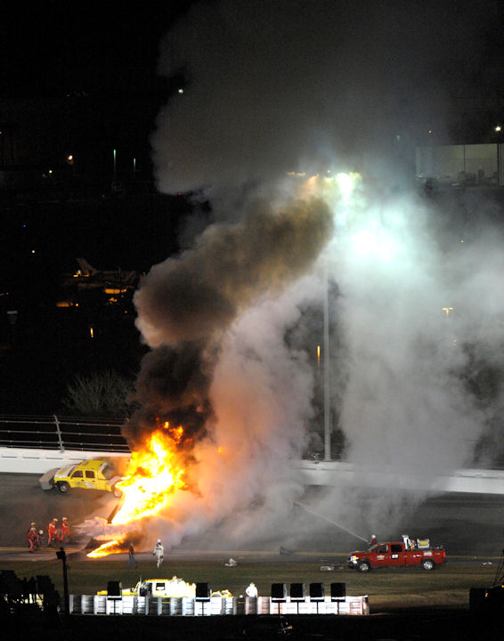 "<div class=""meta ""><span class=""caption-text "">Flames shoot up from burning fuel from a jet dryer after Juan Pablo Montoya's car collided with the dryer during a caution in the NASCAR Daytona 500 auto race at Daytona International Speedway in Daytona Beach, Fla., Monday, Feb. 27, 2012. (AP Photo/Phelan M. Ebenhack) </span></div>"