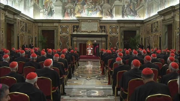 "<div class=""meta image-caption""><div class=""origin-logo origin-image ""><span></span></div><span class=""caption-text"">In this photo provided by the Vatican newspaper L'Osservatore Romano, Pope Benedict XVI delivers his message on the occasion of his farewell meeting to cardinals, at the Vatican, Thursday, Feb. 28, 2013. Benedict XVI promised his ""unconditional reverence and obedience"" to his successor in his final words to his cardinals Thursday, a poignant farewell before he becomes the first pope in 600 years to resign. (AP Photo/L'Osservatore Romano, ho)   (AP Photo/L'Osservatore Romano, ho)</span></div>"