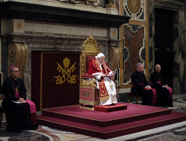 "<div class=""meta image-caption""><div class=""origin-logo origin-image ""><span></span></div><span class=""caption-text"">In this photo provided by the Vatican newspaper L'Osservatore Romano, Pope Benedict XVI, top center, delivers his message on the occasion of his farewell meeting to cardinals, at the Vatican, Thursday, Feb. 28, 2013. Benedict XVI promised his ""unconditional reverence and obedience"" to his successor in his final words to his cardinals Thursday, a poignant farewell before he becomes the first pope in 600 years to resign. (AP Photo/L'Osservatore Romano, ho)   (AP Photo/L'Osservatore Romano, ho)</span></div>"