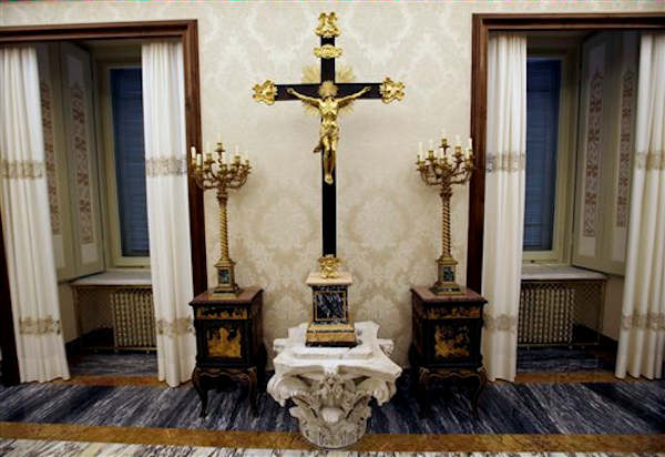 A view of a hall of pope's summer residence of Castel Gandolfo, in the town of Castelgandolfo, south of Rome, Wednesday, Feb. 20, 2013. Immediately after his resignation on Feb. 28, 2013, Pope Benedict XVI will spend some time at the papal summer retreat in Castel Gandolfo, overlooking Lake Albano in the hills south of Rome where he has spent his summer vacations reading and writing. (AP Photo/Gregorio Borgia)