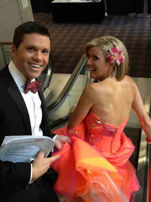 "<div class=""meta ""><span class=""caption-text "">Meteorologists Adam Joseph and Cecily Tynan pose for a little fun at the 2012 Philadelphia Flower Show preview.</span></div>"