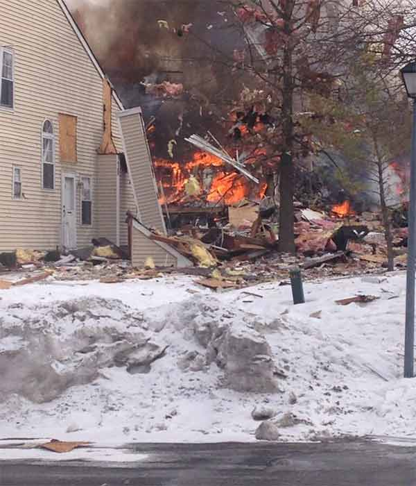 Twitter user @acorehollerr sent us this photo in the aftermath of an explosion that leveled several homes in Ewing Township, New Jersey.