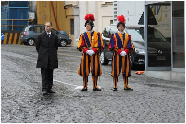Friday, March 8, 2013: Two members of the Swiss Guard in their distinctive uniforms.  Action News' Brian Taff and his crew are on assignment in Rome, covering the selection of the next pope.