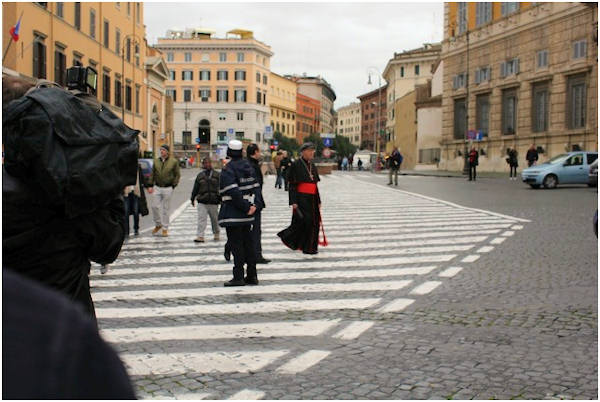 Friday, March 8, 2013: A cardinal walking through the streets of Rome.  Action News' Brian Taff and his crew are on assignment in Rome, covering the selection of the next pope.