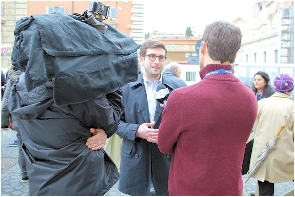 Friday, March 8, 2013: Action News' Brian Taff and his crew conduct an interview. Brian is on assignment in Rome, covering the selection of the next pope.