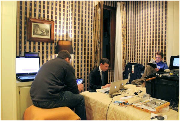 Friday, March 8, 2013: From left - Action News photojournalist Rich Lacovara, reporter/anchorman Brian Taff and executive producer John Morris.  They are on assignment in Rome, covering the selection of the next pope.