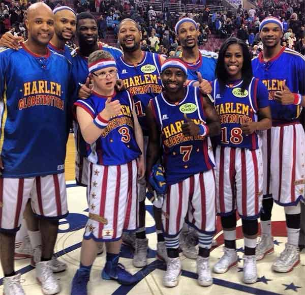 Bensalem's Kevin Grow, scored 12 points including a three pointer during the Harlem Globetrotters game at the Wells Fargo Center.
