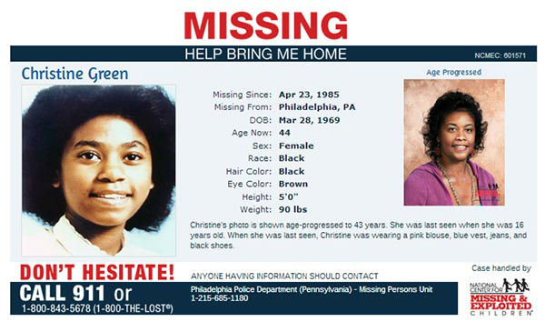 Help the National Center for Missing and Exploited Children bring these missing children home.  If you have any information, please call: 1-800-843-5678 (1-800-THE-LOST)