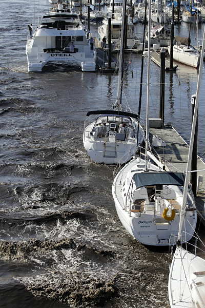 A strong current from a tsunami surge streams past anchored boats on the harbor in Santa Cruz, Calif., Friday, March 11, 2011. A surge caused by a tsunami off the Japanese coast caused significant damage to the Santa Cruz harbor.  <span class=meta>(AP Photo&#47;Marcio Jose Sanchez)</span>