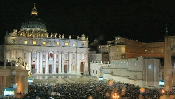 Wednesday, March 13, 2013: St. Peter's Square erupts in celebration after white smoke rises from the Sistine Chapel chimney, indicating a new pope has been elected.