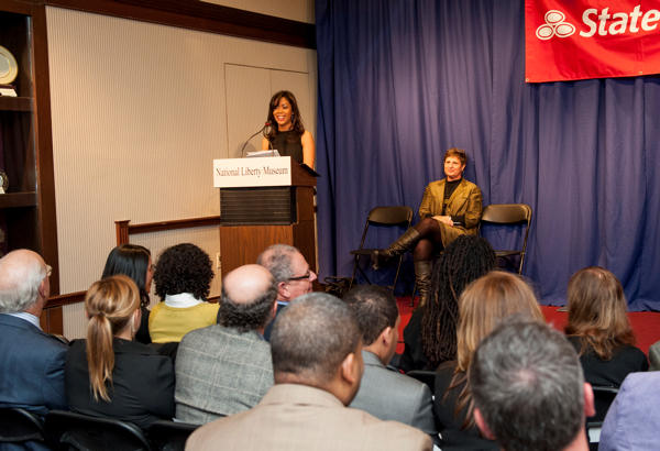 "<div class=""meta image-caption""><div class=""origin-logo origin-image ""><span></span></div><span class=""caption-text"">Shirleen Allicot emcees the 2013 Teachers as Hero Awards at the National Liberty Museum.</span></div>"