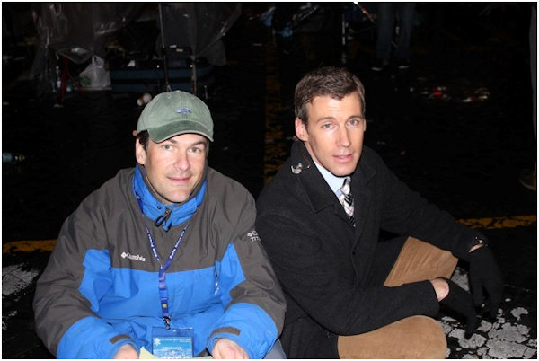 Wednesday, March 13, 2013: Action News executive producer John Morris and anchorman Brian Taff take a break between live reports from Vatican City.  Photo from Action News photojournalist Rich Lacovara.