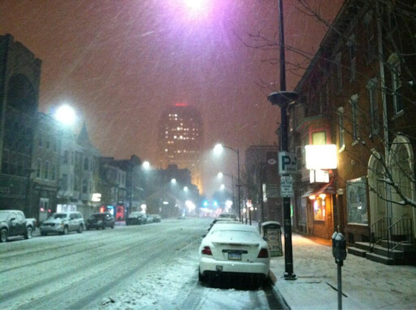"Action News viewer Michael Hodrick tweeted this photo of ""Snow falling on Hamilton St. In Allentown"" on March 18, 2013."